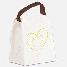 Yellow Footprints in Love Canvas Lunch Bag