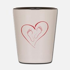 Red Footprints in Love Shot Glass
