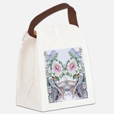 Suede Pillow Pheasant Peony Flora Canvas Lunch Bag