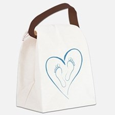 Blue Footprints in Love Canvas Lunch Bag