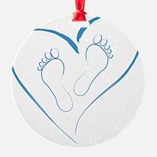 Blue Footprints in Love Ornament