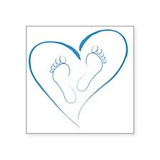 "Blue Footprints in Love Square Sticker 3"" x 3"""