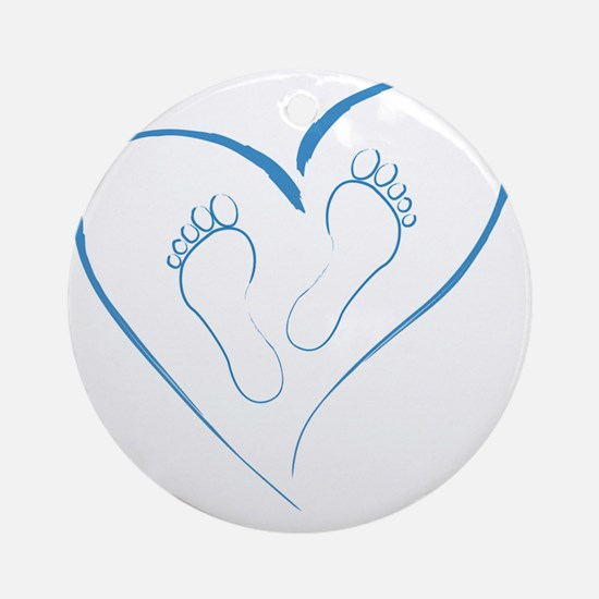 Blue Footprints in Love Round Ornament