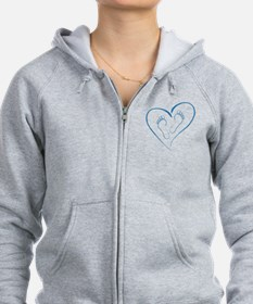 Blue Footprints in Love Zip Hoodie