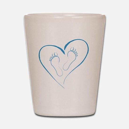 Blue Footprints in Love Shot Glass