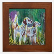 English Setters Framed Tile
