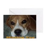 Missing You Beagle Greeting Cards (Pk of 10)