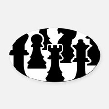Chessmen Oval Car Magnet
