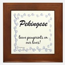 Pekingese Pawprint Framed Tile