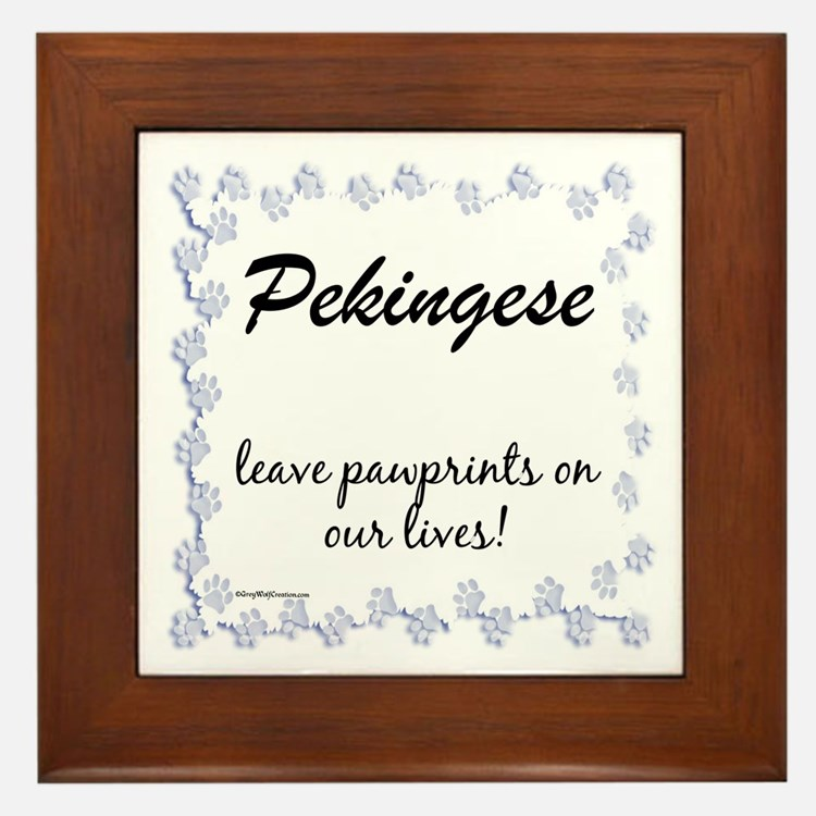 Pekingese Pawprint Framed Tile