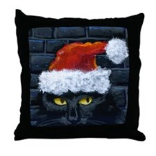 Kitty Claws Secret Santa Throw Pillow