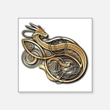 "Gold Norse Dragon Square Sticker 3"" x 3"""