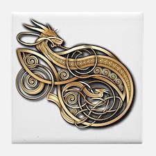 Gold Norse Dragon Tile Coaster