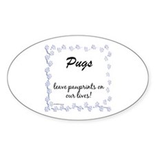 Pug Pawprint Oval Decal