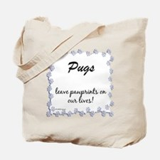 Pug Pawprint Tote Bag