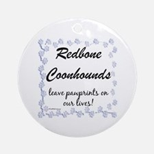 Coonhound Pawprint Ornament (Round)