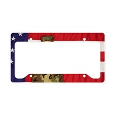 Soldier saluting and American License Plate Holder