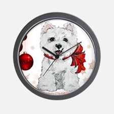 Westie Red Christmas Wall Clock