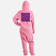 Purple Leopard Print. Footed Pajamas