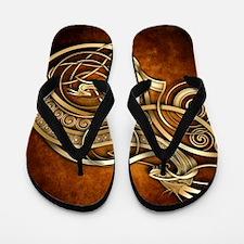Gold Norse Dragon Flip Flops