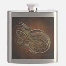 Gold Norse Dragon Flask