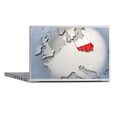 Shape and ensign of Poland on a globe Laptop Skins