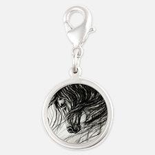 Mane Dance art Silver Round Charm