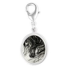 Mane Dance art Silver Oval Charm