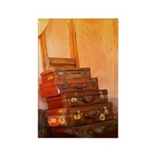 Old Style Luggage and Pith Helmet Rectangle Magnet