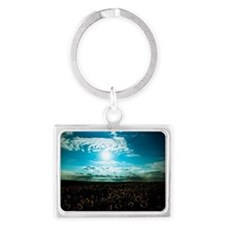 Sunflower field with a blue sky Landscape Keychain
