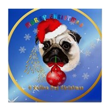 Circle A Merry Christmas Pug Tile Coaster