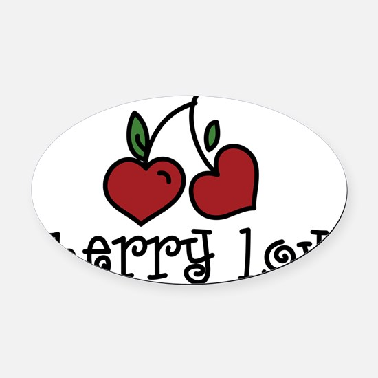 Cherry Love Oval Car Magnet