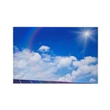 Blue Sky and Sun Over Solar Panel Rectangle Magnet