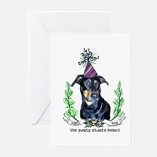 Party Dog - Doberman Pinscher Greeting Cards (Pack