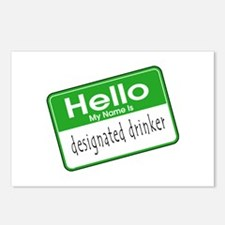 HELLO MY NAME IS DESIGNATED DRINKER Postcards (Pac
