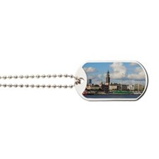 Waterfront of Hamburg with St. Michaelis  Dog Tags
