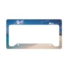Resort hotels on tropical isl License Plate Holder