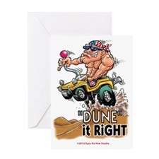 """Dune It Right"" Dune Buggy Cartoon Greeting Card"