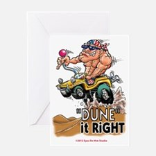 """Dune It Right"" Dune Buggy Cartoon Greeting Card"
