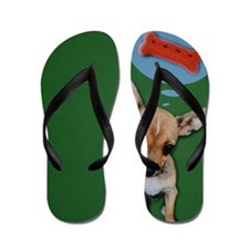 Chihuahua dreaming of dog biscuit compo Flip Flops