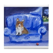 Corgi on Blue sofa Tile Coaster