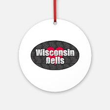 Wisconsin Dells w Heart Round Ornament