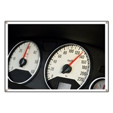 Car speedometer at 135km/hour, close-up Banner