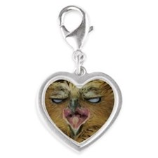 Buffy fish owl with funny expr Silver Heart Charm
