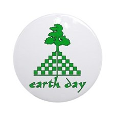 Earth Day Mountain and Tree Ornament (Round)