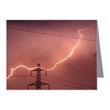 Bolt of lighting hits an ele Note Cards (Pk of 20)