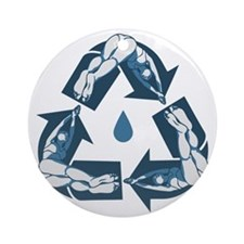 recycle-dive-LTT Round Ornament