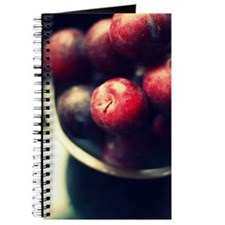Bowl of round sweet plums, shot from above Journal