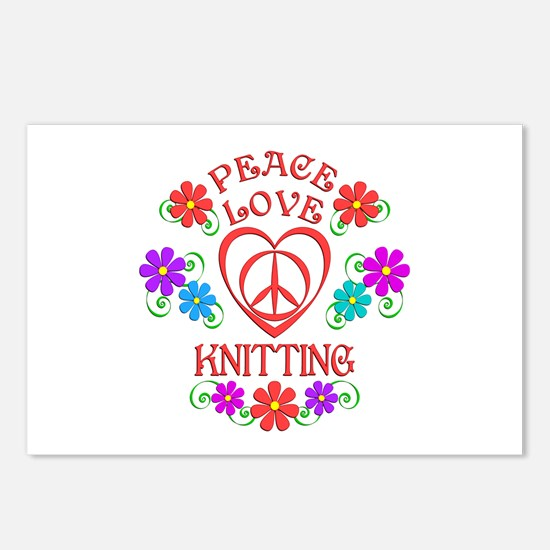 Peace Love Knitting Postcards (Package of 8)