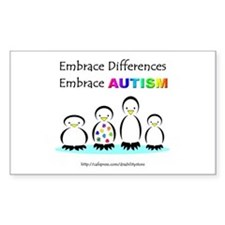 Autism Penguins Rectangle Decal